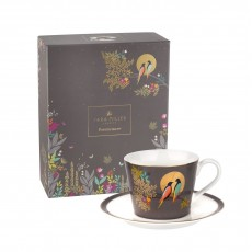 Sara Miller Chelsea Collection Cup & Saucer Dark Grey