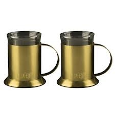 La Cafetiere Edited Set 2 Glass Cups Brushed Gold