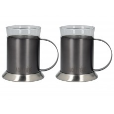 La Cafetiere Edited Set 2 Glass Cups Gun Metal Grey