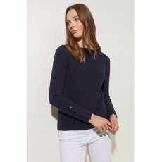Great Plains Core Rib Knit Ls Slash Neck  Jumper Midnight