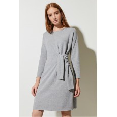 Great Plains Kitten Soft Ls Tie Dress Grey Melange