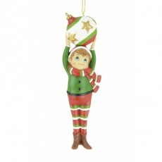 Resin Elf With Bauble 14cm Multi