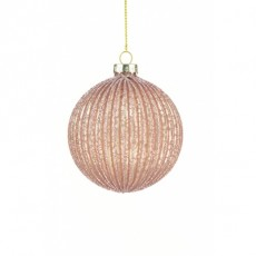 Glass Franki Bauble 8cm Pink