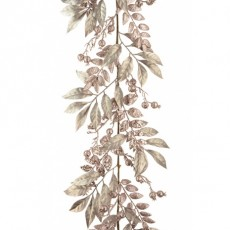 Mixed Leaf/Berry Garland 180cm Rose Gold