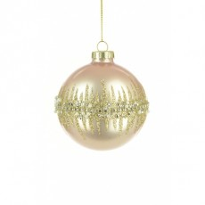 Glass Domina Bauble 8cm Light Pink