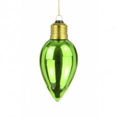 Glass Candlebulb Bauble 6 x 11cm Green