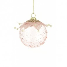 Glass Bauble With Feather 8cm Pink