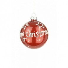 Glass Merry Christmas Bauble 8cm Red