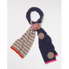 White Stuff Cashmere Spot And Stripe Scarf Navy