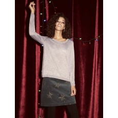 White Stuff Star Cloud Emb Velvet Skirt Grey Pr