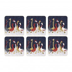 Sara Miller Christmas Collection Geese Coasters Set 6