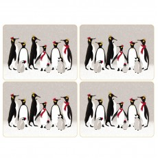 Sara Miller Christmas Collection Penguin Placemats Set 4
