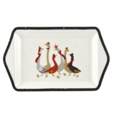 Sara Miller Christmas Collection Geese Dessert Tray