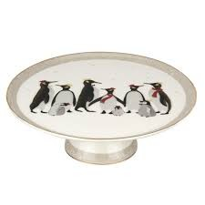 Sara Miller Christmas Collection Penguin Footed Cake Plate