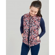 Joules Brindleyprint Printed Chevron Quilted Gilet Navy Ditsy