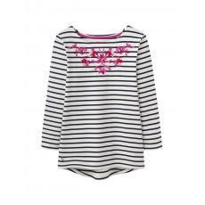 Joules Harbour Emb Lightwear Jersey Top With Embroidery Detail Cream Navy Stripe