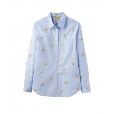 Joules Lucie Printed Stripe Woven Shirt Blue Floral Stripe