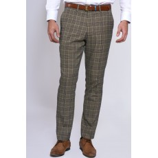 Marc Darcy Enzo Check Trousers Tan