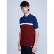 Pretty Green Front Colour Block Polo Shirt Burgundy
