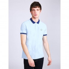 Pretty Green Tipped Pique Polo Shirt Light Blue