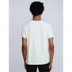 Pretty Green Contrast Neck Pg Print T-Shirt Offwhite