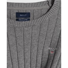 Gant Cotton Dark Grey Rib Crew Jumper