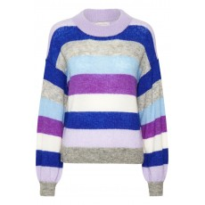 Part Two Poe Purple Multi Colour Stripe Jumper
