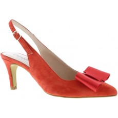 Cappolini Ellen Red Bow Pointed Sling Back Heels