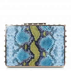 Moda In Pelle Stud Edge Square Clutch Bl