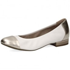 Caprice White and Gold Heeled Pump