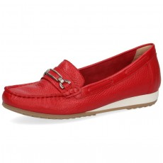 Caprice Red Deer Leather Wedged Heel Loafer