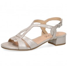 Caprice Silver Suede Small Heel Sandal