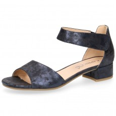 d74ddd81a65 Caprice Blue Shine Suede Small Heel Sandal