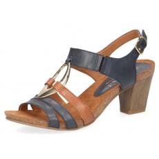 d7165b4692e Caprice Blue and Cognac Heeled Sandal
