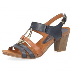 Caprice Blue and Cognac Heeled Sandal