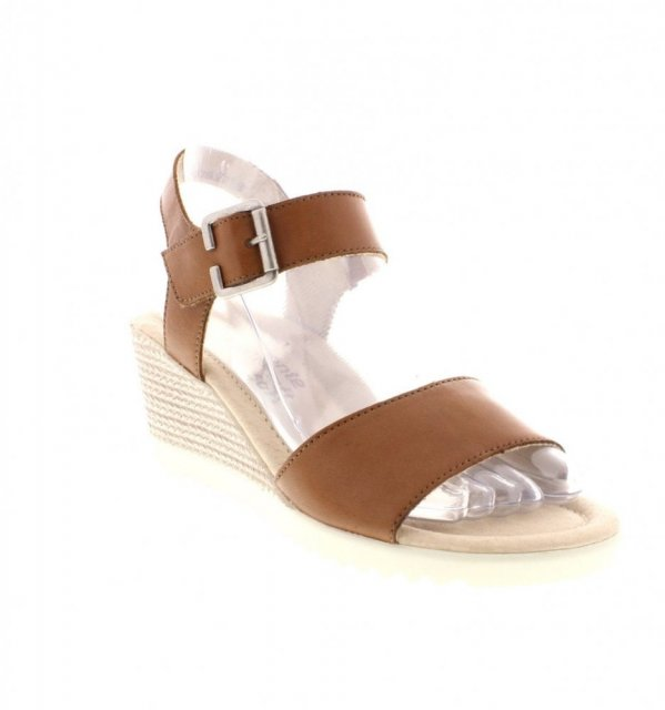 9078e5b839 Remonte Cristallino Nude and Brown Small Wedged Heel Sandal ...