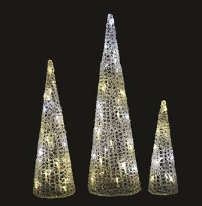 Christmas Set Of 3 LED Cones