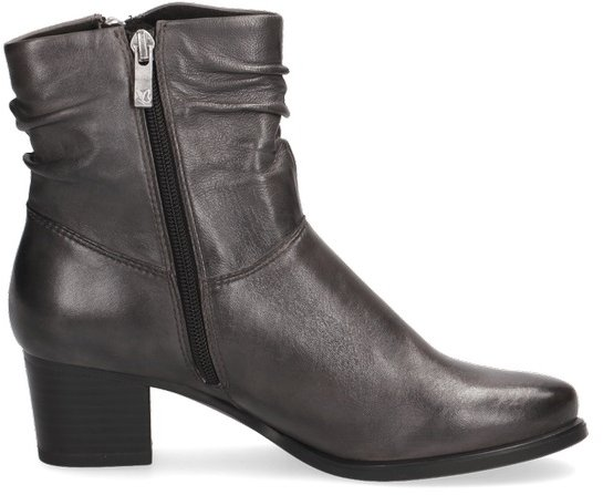 Caprice Dark Grey Leather Heeled Ankle Boot