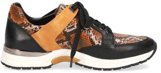 Caprice Brown Leather Snake Print Trainer