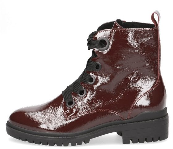 Caprice Burgundy Leather Ankle Boot