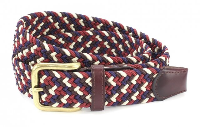 Belt Multi Burgundy/Navy/Ecru L