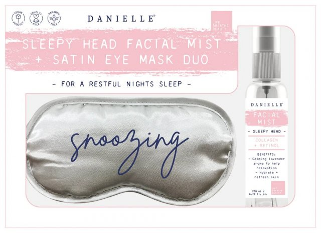 Danielle Grey Eye Mask Wake Up Spray