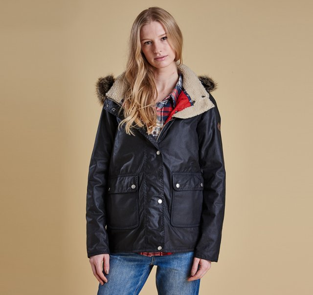 Barbour Crevasse Wax Jacket Navy