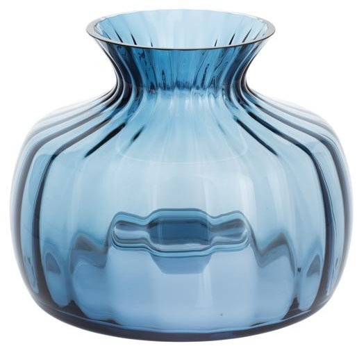 Dartington Cushion Vase Medium Ink Blue Optic