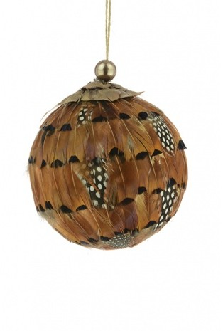 Feather Bauble Brown 11cm