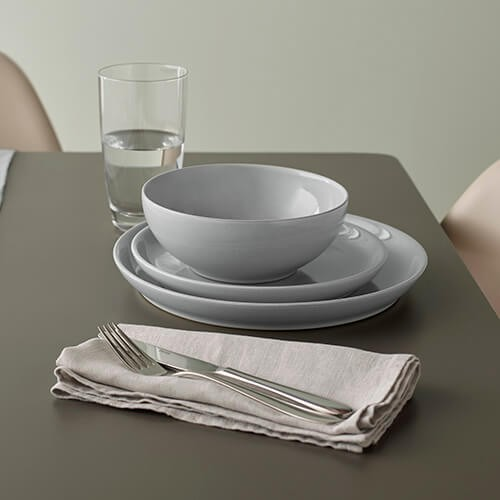 Denby Intro Soft Grey 12pc Tableware Set