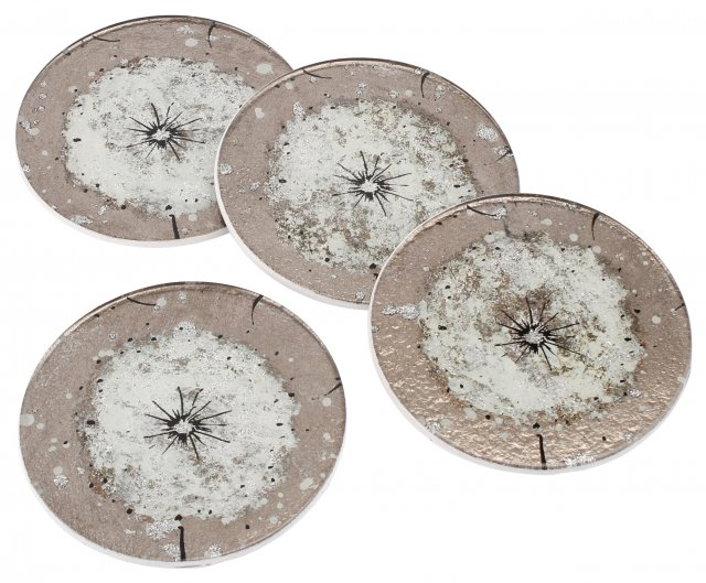 Dusky Dandelion Set Of 4 Round Glass Coasters