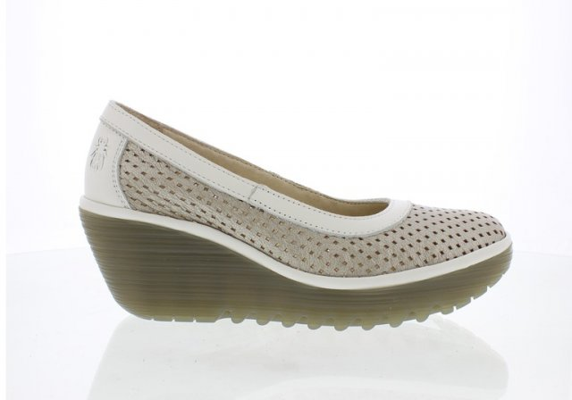 Fly London Yobe Silver Off White Wedge Pump