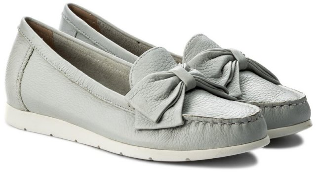 Caprice Bow Shoe Light Grey