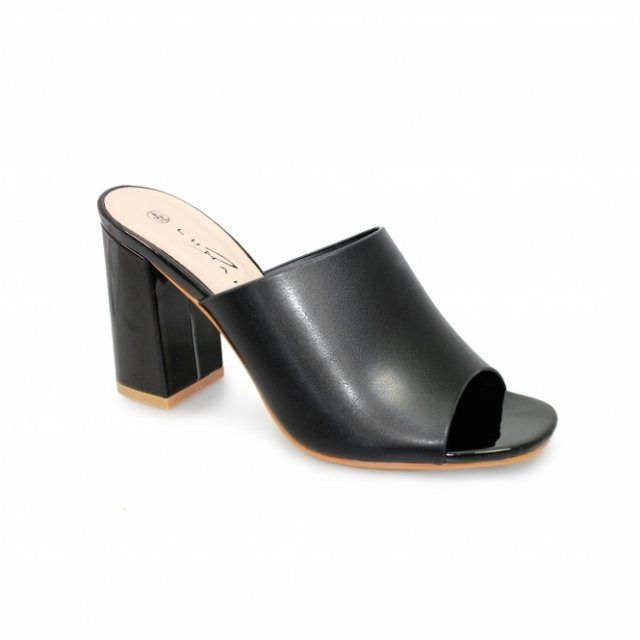 Ariana Black Heeled Mule